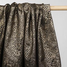 Tissu jacquard noir motif écailles dorées- tissus en ligne - pretty mercerie