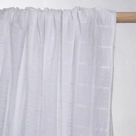 achat tissu coton blanc plumetis et carreaux tissés  - pretty mercerie - mercerie en ligne