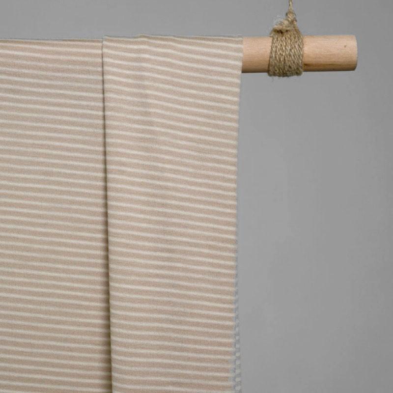 achat tissu lainage maille rayé beige frappé & crème - pretty mercerie - mercerie en ligne