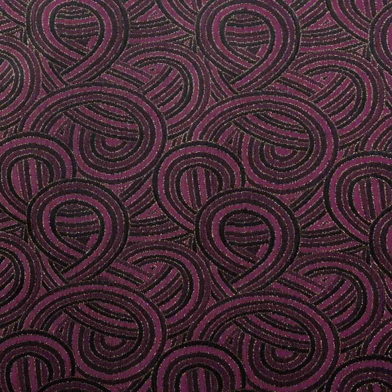 Tissu jacquard beaujolais entrelacs noir et or - pretty mercerie - mercerie en ligne