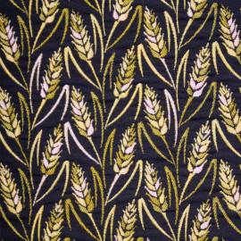 Tissu jacquard noir à motif épis de blé rose et jaune - mercerie en ligne - pretty mercerie