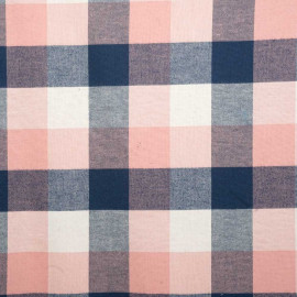 Tissu coton à carreaux rose, bleu et coquille - mercerie en ligne - pretty mercerie