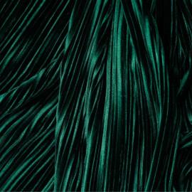 Tissu velours plissé vert satiné x 10 cm