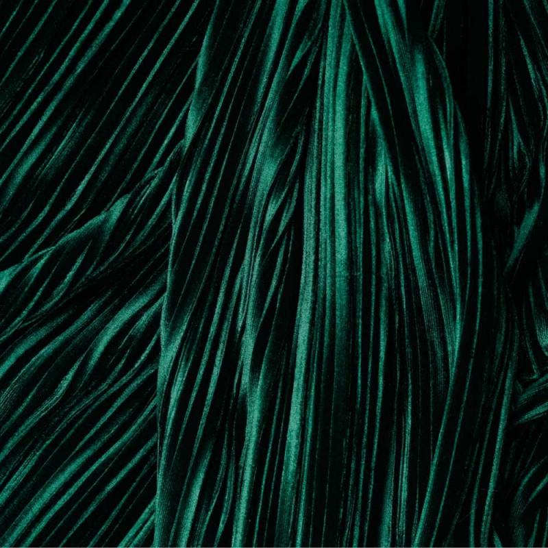 Tissu velours plissé vert satiné - pretty mercerie - mercerie en ligne