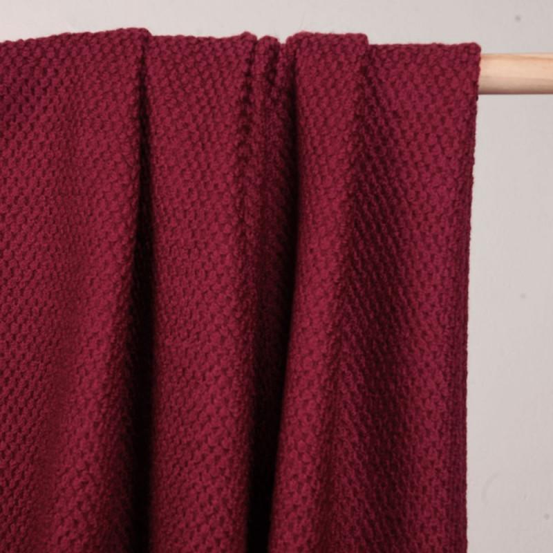 Tissu lainage rumba red effet tricoté - mercerie en ligne - pretty mercerie