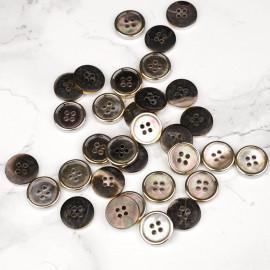 Bouton nacre noir cerclé métal or 11 mm - mercerie en ligne - pretty mercerie