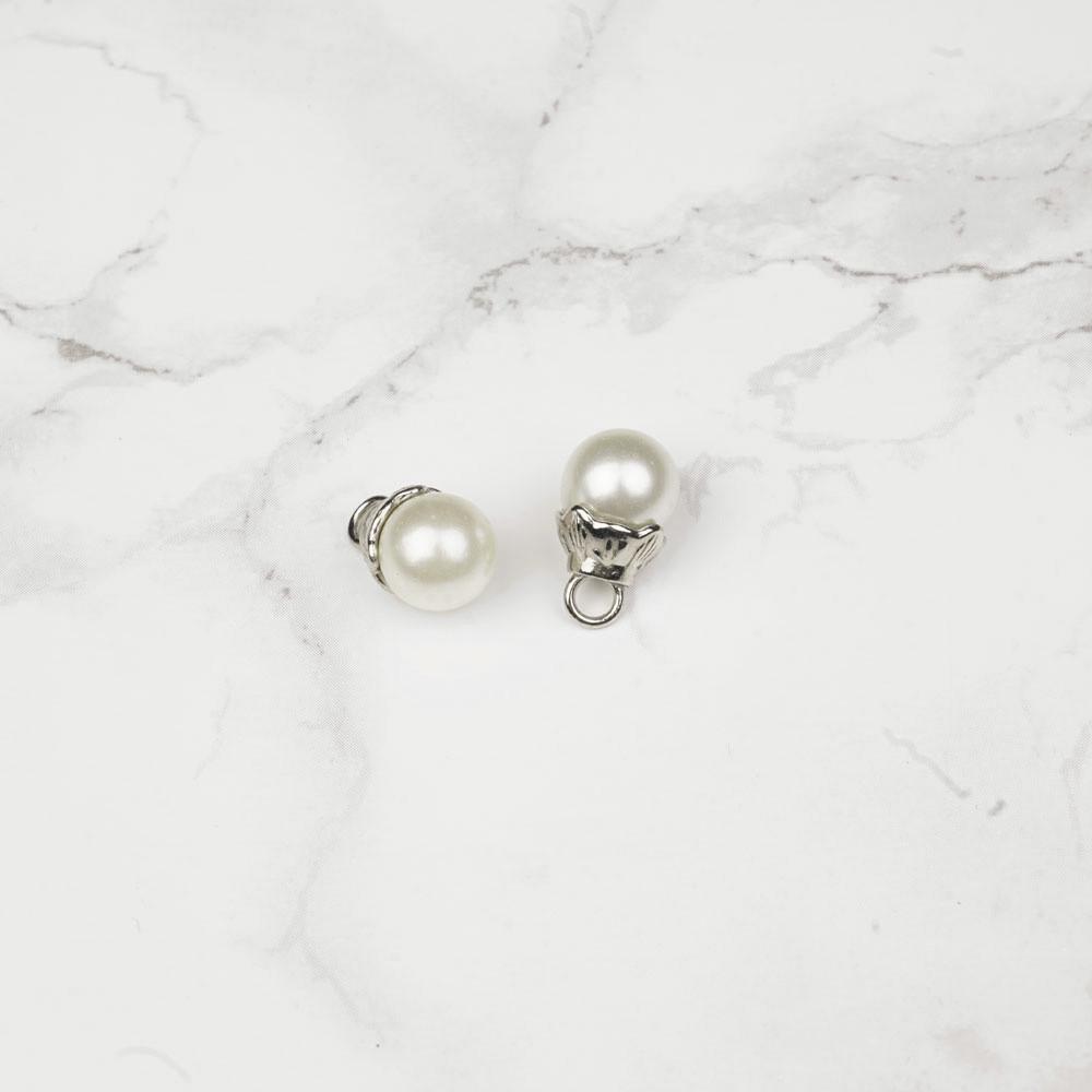 Bouton imitation perle ronde nacré 10 mm - mercerie en ligne - pretty mercerie