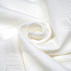 Tissu matelassé blanc motif déstructuré - pretty mercerie - mercerie en ligne