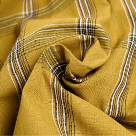Tissu coton curry à carreaux lignes noir et blanches x 10cm