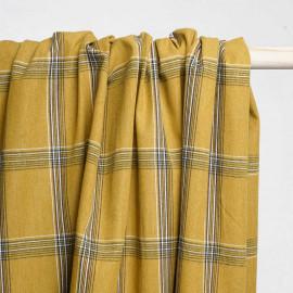 Tissu coton curry à carreaux lignes noir et blanches - pretty mercerie - mercerie en ligne