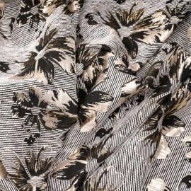 Tissu jacquard motif rayé à fleurs noir et or léger x 10 CM