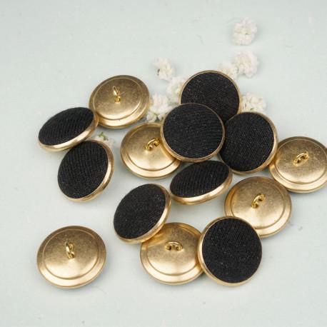 Bouton métal recouvert doré et noir 22 mm - mercerie en ligne - pretty mercerie