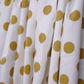 Tissu coton blanc à motif pois ocre - mercerie en ligne - pretty mercerie