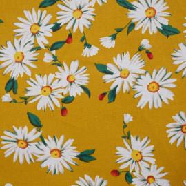 Tissu coton moutarde à motif fleurs marguerites - mercerie en ligne - pretty mercerie