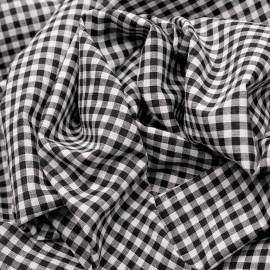 Tissu coton vichy noir et blanc - mercerie en ligne - pretty mercerie