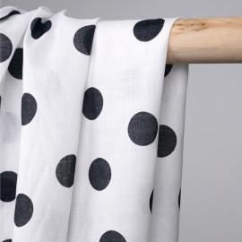Tissu coton léger blanc à motif pois noir - mercerie en ligne - pretty mercerie