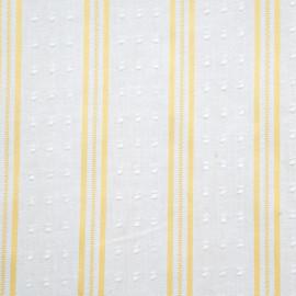 Tissu plumetis blanc à motif rayures tissées jaunes - mercerie en ligne - pretty mercerie