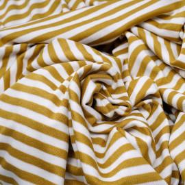Tissu jersey côtelé rayé miel doré et blanc x 10cm