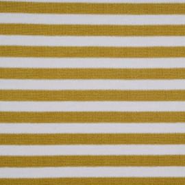Tissu jersey côtelé rayé miel doré et blanc - mercerie en ligne - pretty mercerie