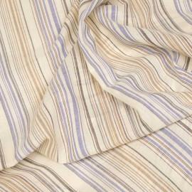 Tissu voile de viscose et lin papyrus à rayures bleues, grises et beiges x 10cm