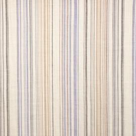 Tissu voile de coton papyrus à rayures bleues, grises et beiges - pretty mercerie - mercerie en ligne