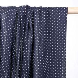 Tissu voile de coton bleu marine à pois blanc - pretty mercerie - mercerie en ligne