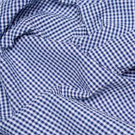 Tissu coton seersucker motif vichy bleu et blanc x 10cm