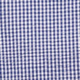 Tissu coton seersucker motif vichy bleu et blanc - pretty mercerie - mercerie en ligne