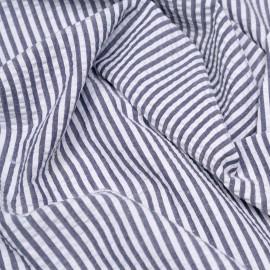 Tissu coton seersucker motif rayé bleu nuit et blanc x 10cm