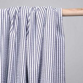 Tissu coton seersucker motif rayé bleu nuit et blanc - pretty mercerie - mercerie en ligne