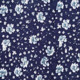Tissu viscose bleu marine à motif fleuri - pretty mercerie - mercerie en ligne