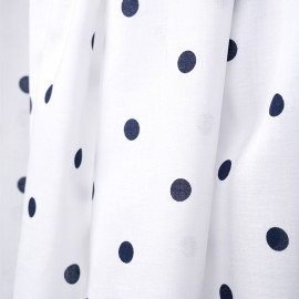 Tissu voile de coton blanc à motif pois bleu marine - pretty mercerie - mercerie en ligne