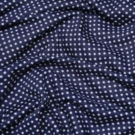 Tissu jersey bleu marine à pois gris x 10cm
