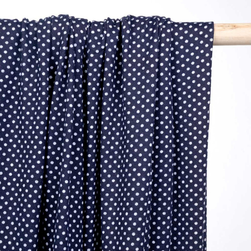 Tissu jersey bleu marine à pois gris - pretty mercerie - mercerie en ligne