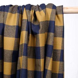 Tissu coton tissé carreaux bleu et ocre - pretty mercerie - mercerie en ligne