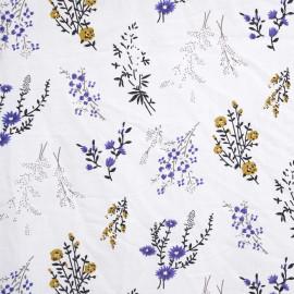 Tissu viscose blanc motif fleuri air de printemps - pretty mercerie - mercerie en ligne