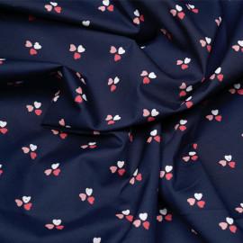 Tissu coton bleu imprimé 3 coeurs x 10cm