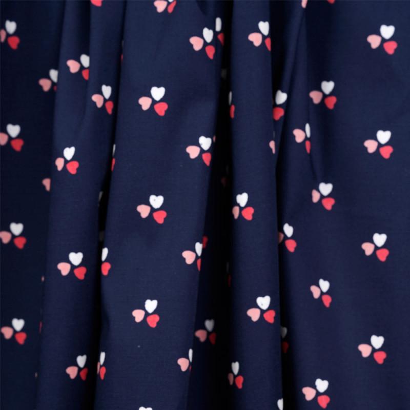Tissu coton bleu imprimé 3 coeurs - pretty mercerie - mercerie en ligne
