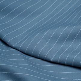 Tissu poly-modal sergé bleu provençal lignes tissées - pretty mercerie - mercerie en ligne