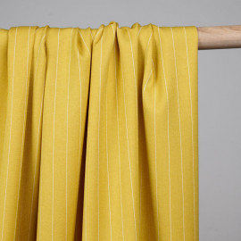 Tissu poly-modal sergé mimosa lignes tissées - pretty mercerie - mercerie en lign