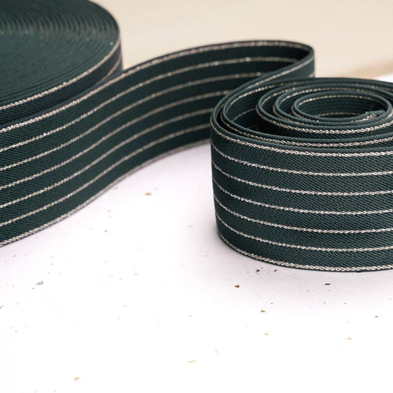 Élastique plat sergé vert et lignes lurex argent - mercerie en ligne - pretty mercerie