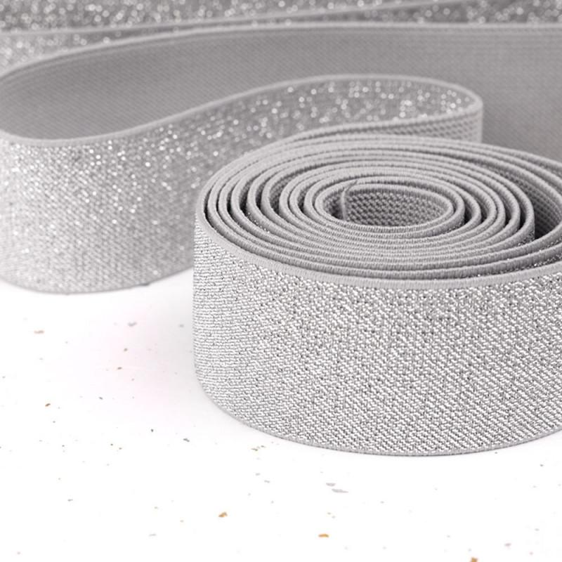 Élastique plat gris et lurex argent 40 mm - mercerie en ligne - pretty mercerie