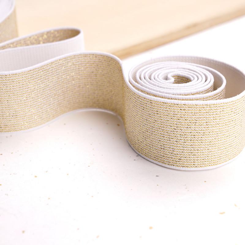 Élastique plat blanc et rayures lurex or 39 mm - mercerie en ligne - pretty mercerie