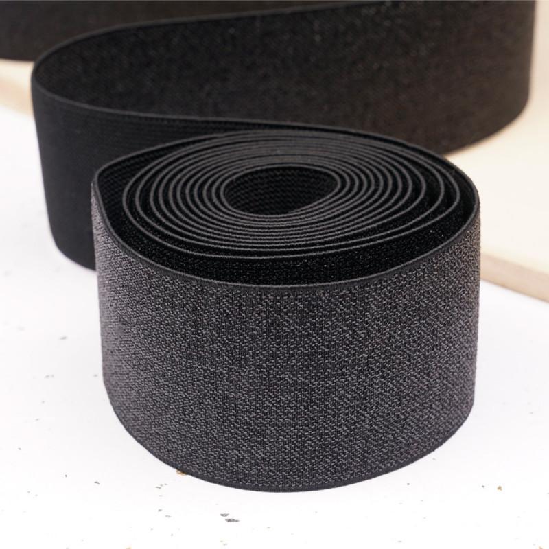 Élastique plat noir et lurex noir 50 mm - mercerie en ligne - pretty mercerie