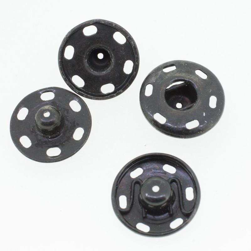 Boutons pressions noir 18 mm