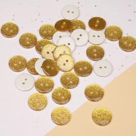 Bouton polyester à paillettes dorées 19 mm - mercerie en ligne - pretty mercerie