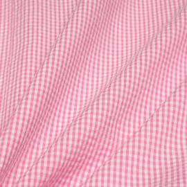 Tissu coton seersucker vichy rose et blanc x 10cm