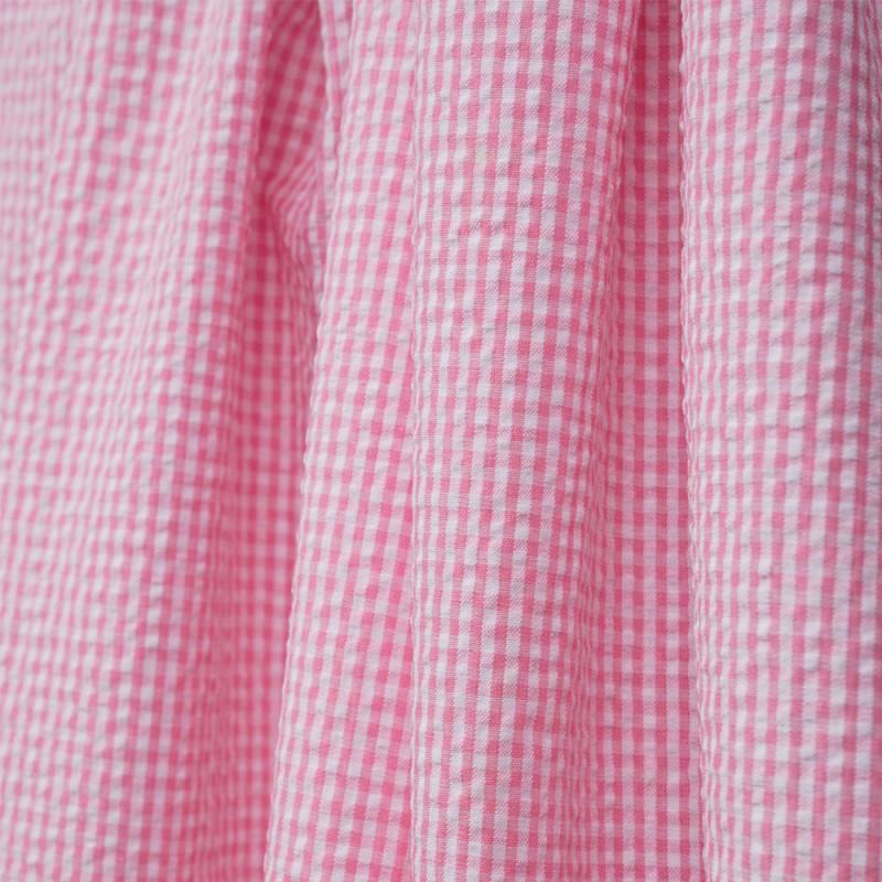 Tissu coton seersucker vichy rose et blanc - pretty mercerie - mercerie en ligne