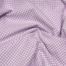 Tissu coton vichy mauve et blanc x 10cm
