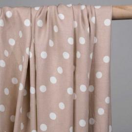 Tissu viscose sergé rose mahogany à pois blanc - pretty mercerie - mercerie en ligne